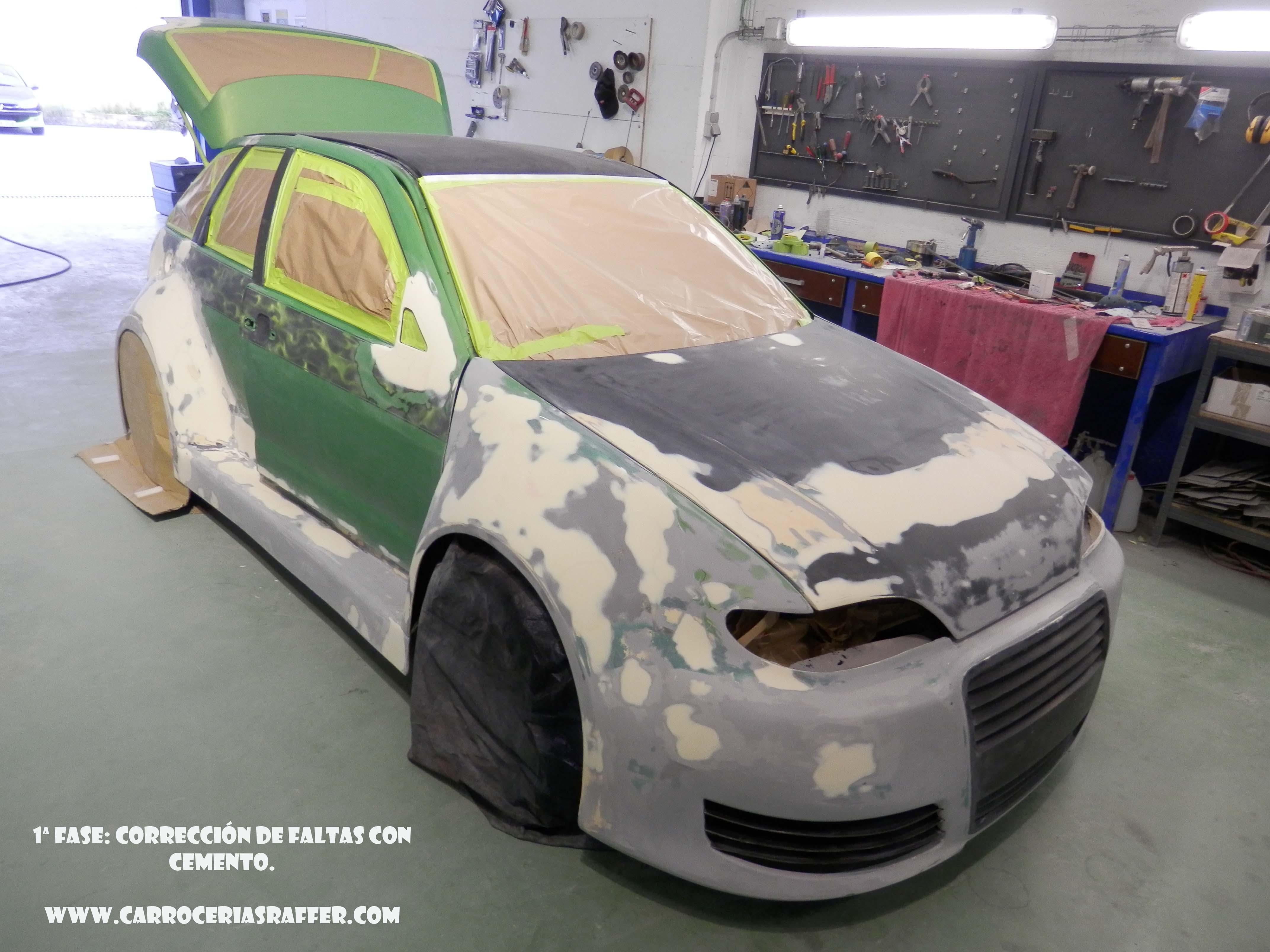 Seat Ibiza tuneado con alas de gaviota. Preparación.