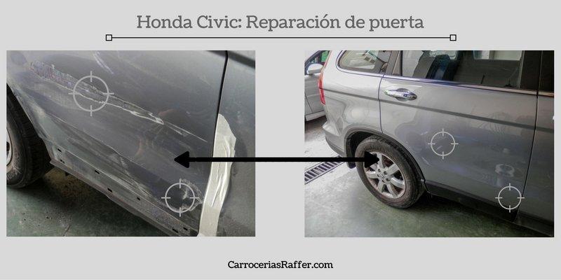 Honda Civic: Reparación golpe de chapa en puerta trasera
