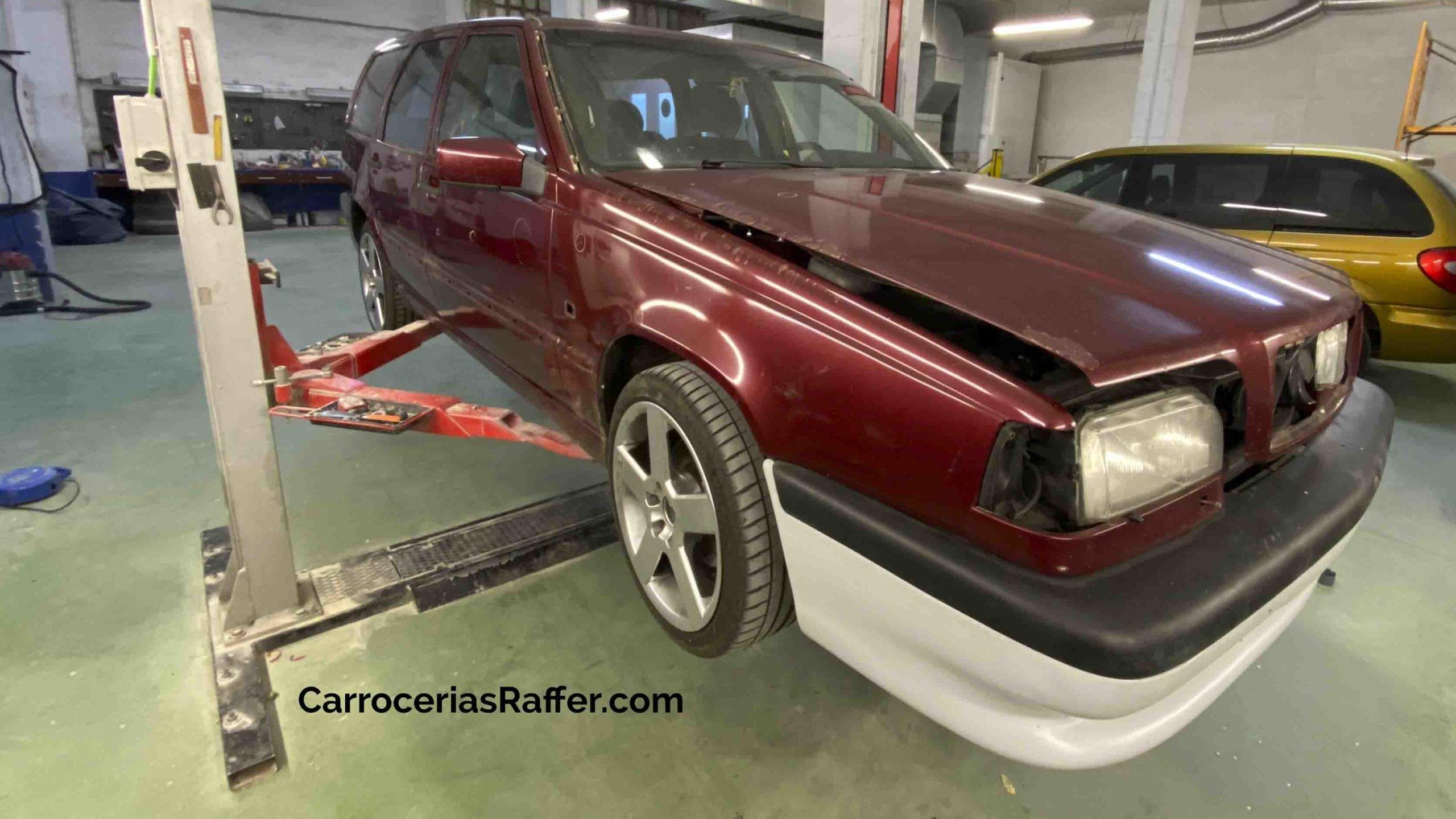 volvo 850 sw pintar coche de rojo a gris carrocerias raffer donostia hernani gipuzkoa taller de chapa y pintura1